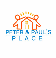 Illustration of two orange people joining hands over a yellow house with sunshine over the arms and the words Peter and Paul's Place below in blue. in blue